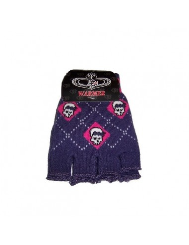 Fingerless Gloves - Purple Girlie Skull
