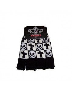Fingerless Gloves - Black White Ska Skull Cross