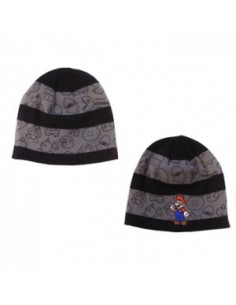 Nintendo - Black Grey Striped  Mario Beanie
