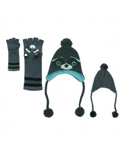 Freaks And Friends - Raccoon Winter Set Handschoenen Muts Skimuts Wasbeer