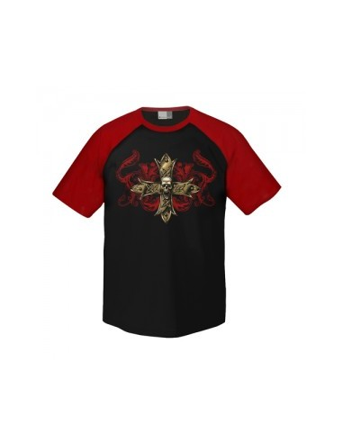 Raglan T-Shirt - Made in Hell Floral Cross Skull