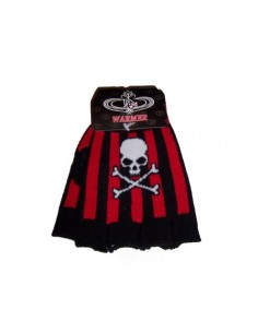 Fingerless Gloves  - Skull Crossbone Stripe
