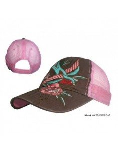 Miami Ink - Pink Trucker Bird & Flower Zwaluw Roos
