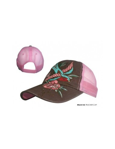 Miami Ink - Pink Trucker Bird & Flower Swallow Rose