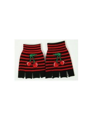 Fingerless Gloves - Black Red Cherry
