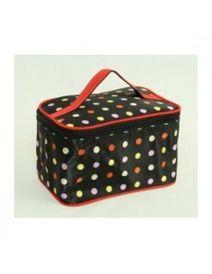 Make up tasche - Case Schwarz Vintage Polka Dots