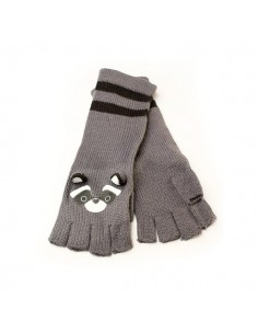 Fingerless Gloves - Freaks and Friends Raccoon Grey Black
