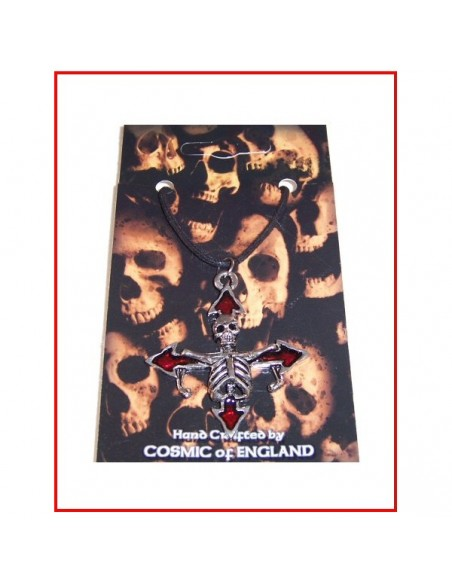 Cord with pewter pendant Skeleton Cross