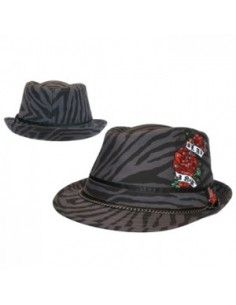 LA Ink Black Fedora Hat Roses